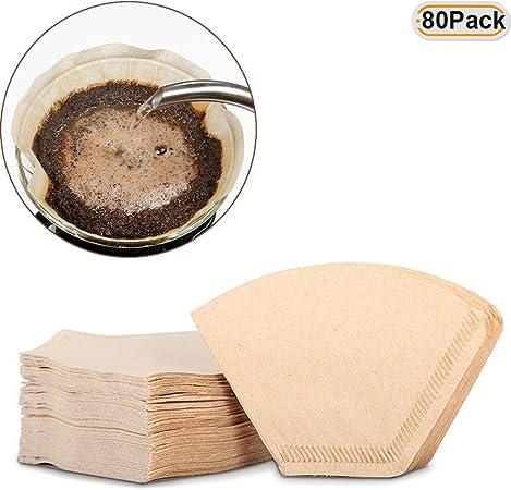 hisight 80 pcs taza de café papel de filtro embudo cafetera de goteo de café americano sin lejía, máquina filtro de bolso de mano (registro de color): Amazon.es: Hogar