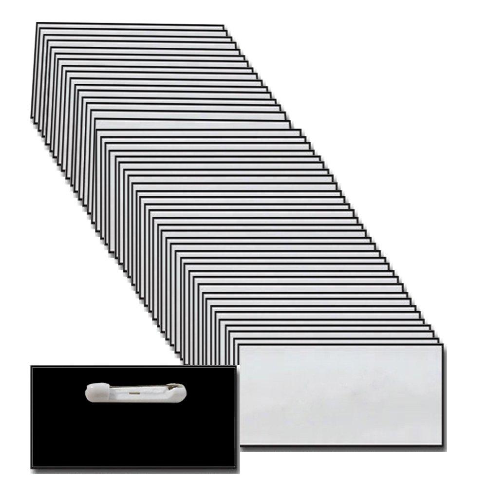 Name Badges with Pin Fastener - 50 Pack Bulk Silver / Black Blank Plastic Beveled Finished Edges 1.5'' X 3''