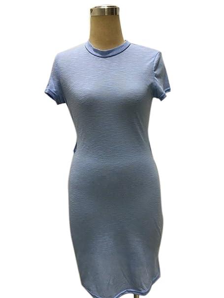Hexu NEW moda verão cor sólida Bodycon Vestidos zíperes manga curta Bandage mulheres vestido Vestidos