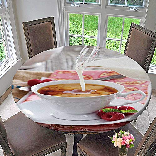 (PINAFORE HOME Round Table Tablecloth Cup of Tea with Milk Pour Over from Pitcher for Wedding Restaurant Party 59