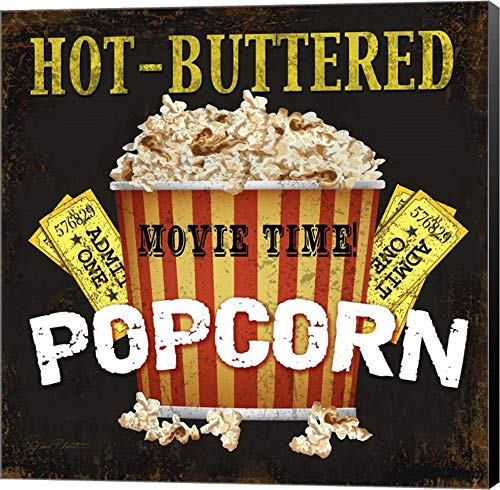 Hot Buttered Popcorn Theater Art by Jean Plout Canvas Art Wall Picture, Museum Wrapped with Black Sides, 12 x 12 inches ()