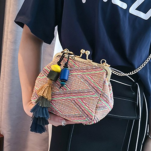 Beach Red Handbag Feminias Casual Women Donalworld Knitted Bolsas Tassel Totes Big Straw Woven S7xPqz