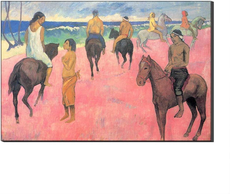 Lienzo Cuadros Famosos Jinetes En La Playa por Paul Gauguin Arte De La Pared Reproducción De Arte Fino Impreso En Lienzo De Arte para Decoraciones para El Hogar (con Marco,60_x_90_cm)