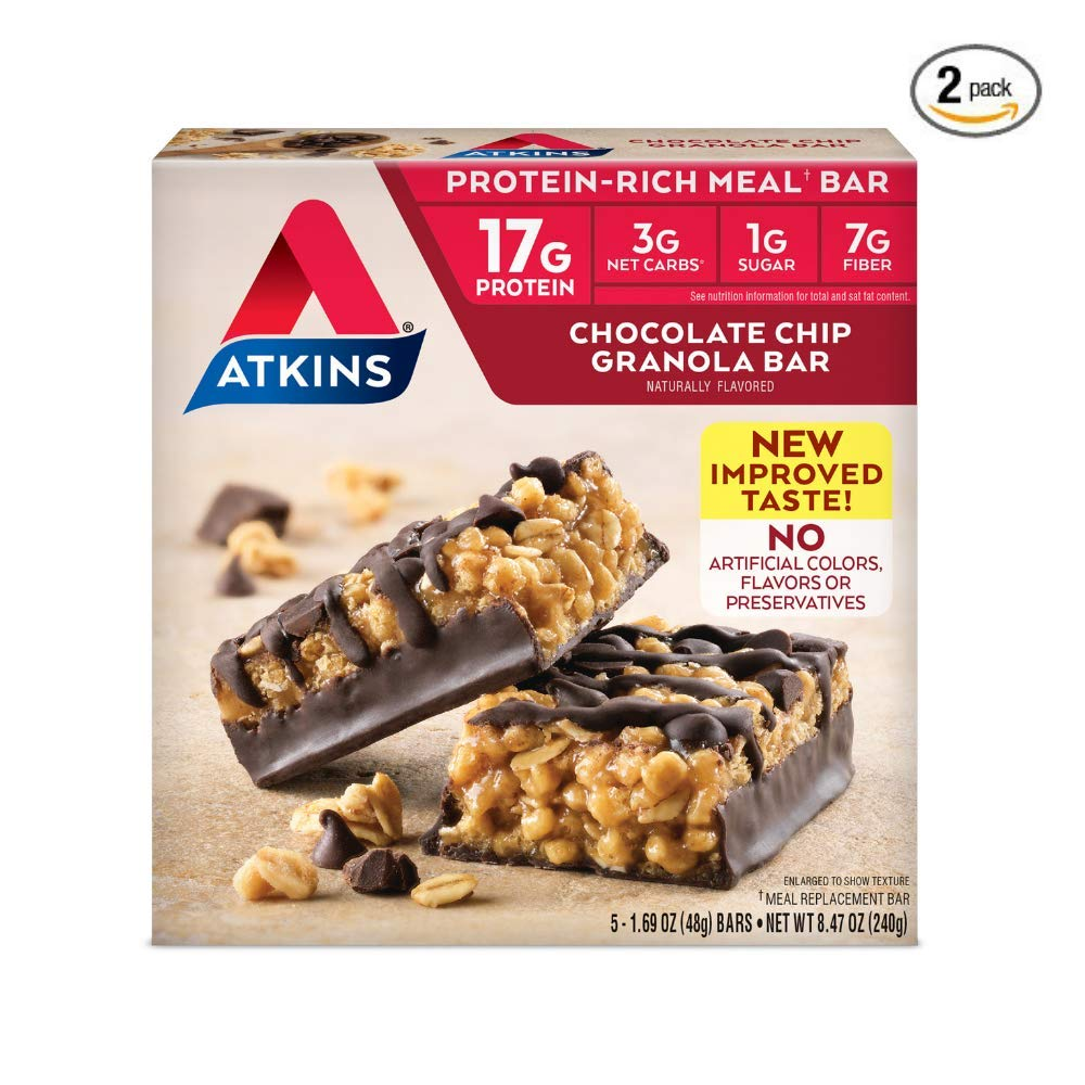 Atkins Protein-Rich Meal Bar, Chocolate Chip Granola, 5 Count each pack - 8.4 Ounce (Pack of 2)