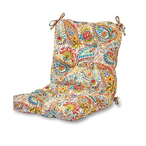 - Greendale Home Fashions Outdoor Seat/Back Chair Cushion in Painted Paisley, Jamboree