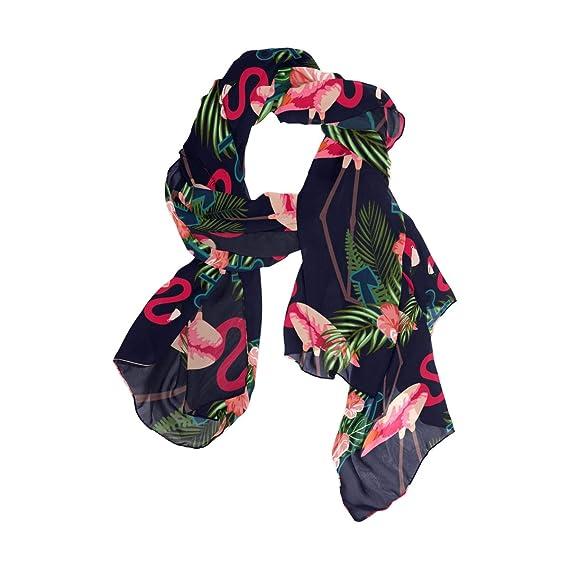 Fashion Lightweight Womens Scarf Sheer Shawl Wrap SEULIFE Silk Scarf Floral Flower Rose Pink