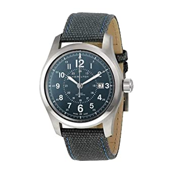 05a85fc92728 Image Unavailable. Image not available for. Color  Hamilton Khaki Field Auto  H70605943 Blue   Blue Nylon Analog Automatic Men s Watch