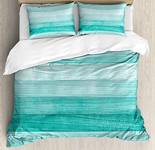 Teal Decor Bedding Sets, Painted Wood Texture Penal Horizontal Lines Birthdays Easter Holiday Print Backdrop, 4 Piece Duvet Cover Set Bedspread for Childrens/Kids/Teens/Adults, Turquoise,Twin Size by TweetyBed (Image #1)