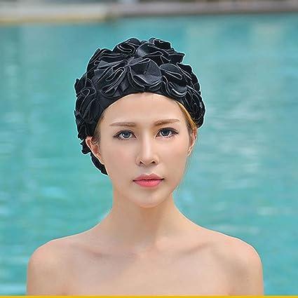 df5c15f43d1 Amazon.com: XENO-Womens Ladies Swimming Swim Cap Lace Floral Vintage ...