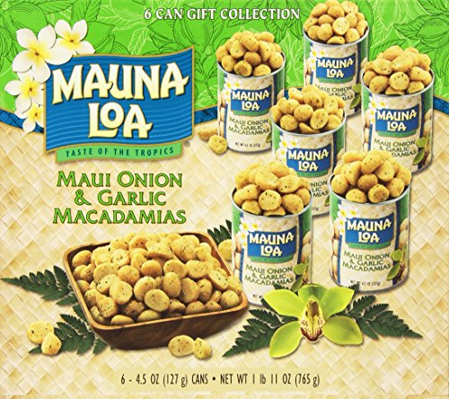 Mauna Loa Macadamias, Maui Onion & Garlic, 4.5-Ounce Containers (Pack of 6)