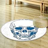 Round Rugs for Bedroom Skull Human Skull with Science Elements Background Medical Theme Blue White Circle Rugs for Living Room-Round 55''