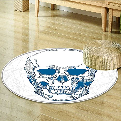 Round Rugs for Bedroom Skull Human Skull with Science Elements Background Medical Theme Blue White Circle Rugs for Living Room-Round 55'' by Liprinthome