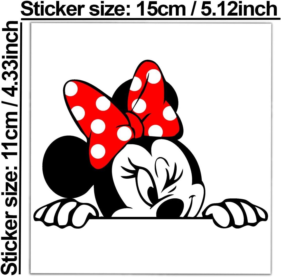 Biomar Labs 1 Stück Vinyl Lustiger Aufkleber Autoaufkleber Minnie Mouse Minni Maus Funny Sticker Auto Motorrad Fenster Fahrrad Tuning B 246 Auto