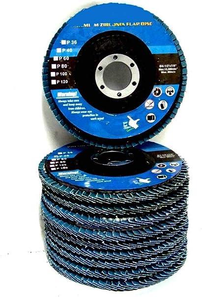 "100pc 4-1//2/"" x 7//8/"" 80 Grit Premium Zirconia Flap Disc Grinding Wheel Sandpaper"