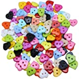 Bluelans® Pack of 100 Mixed Heart 2 Holes Resin Sewing Buttons for Sewing, Scrapbooking, Embelishments, Crafts, Jewellery making, Knitting