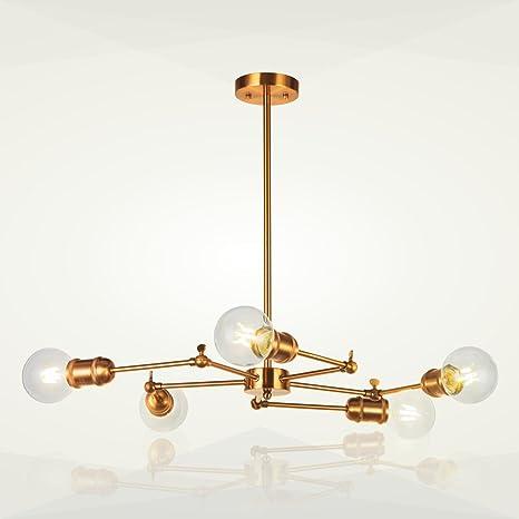 5 Light Sputnik Chandelier Lighting VINLUZ Brushed Brass Modern Pendant Lights Vintage Semi Flush Mount