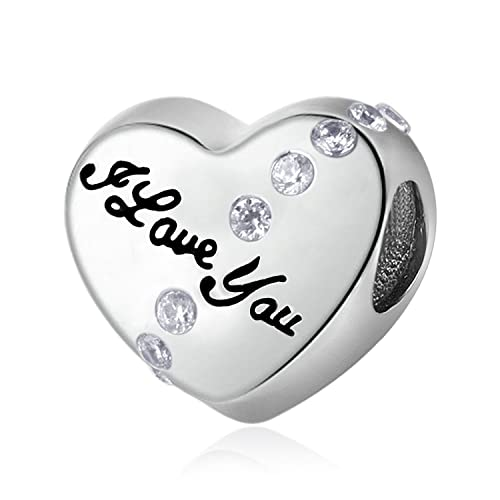 db8ee1b87 Nana I Love You Charm 925 Sterling Silver Heart Bead Mother Gift Jewelry for  Bracelet Pink