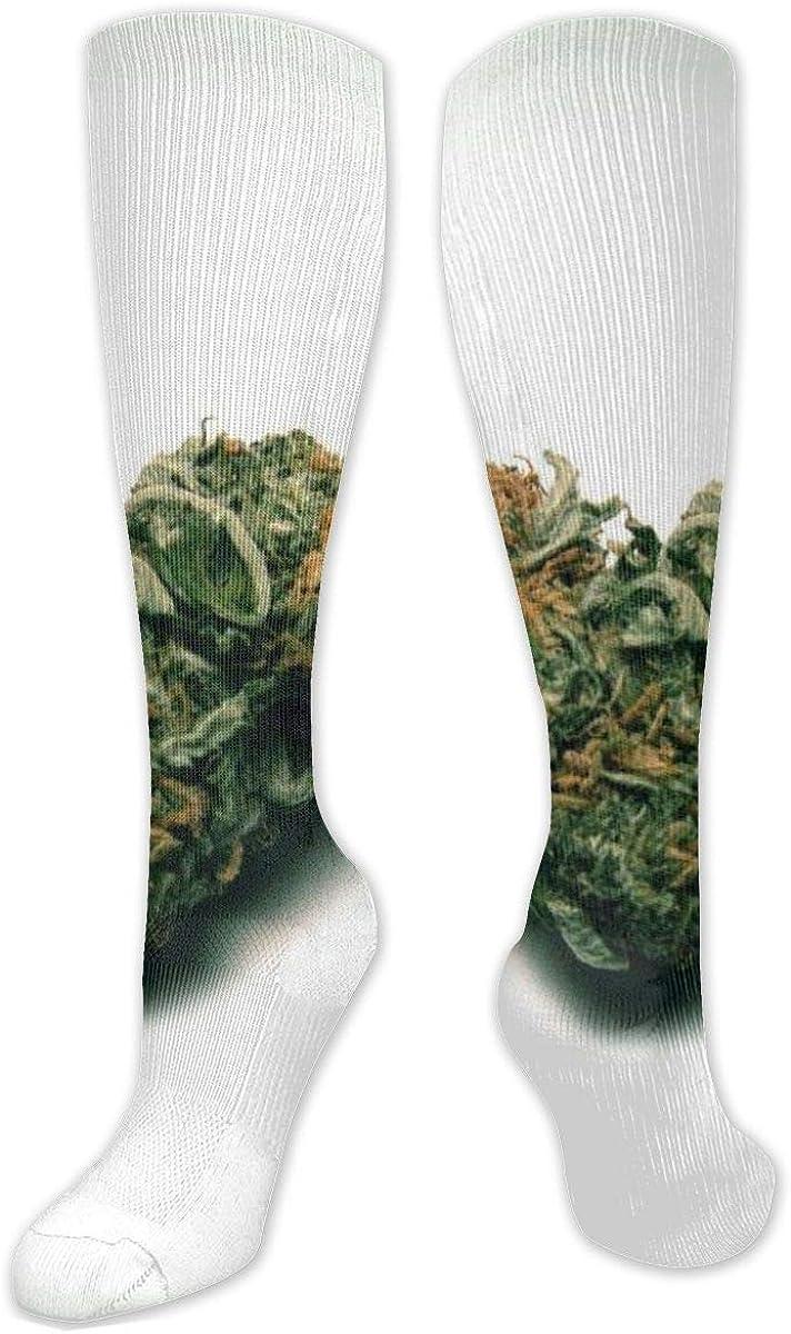 Calcetines de poliéster y algodón por encima de la rodilla, retro, unisex, muslo, botas de cosplay, botas largas, para deportes, gimnasio, yoga, verde, drogas, marihuana, corazones