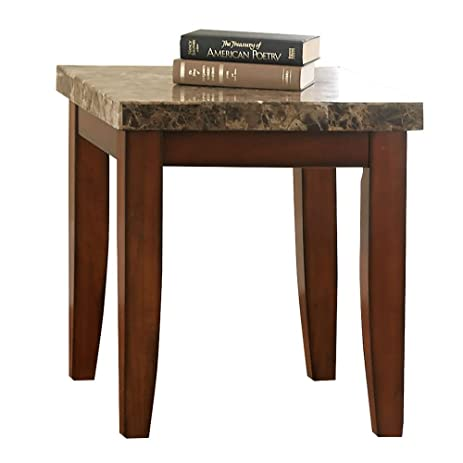 Montibello Marble Top End Table Spanish Brown Marble Veneer Top/Medium  Cherry Veneer Base Dimensions