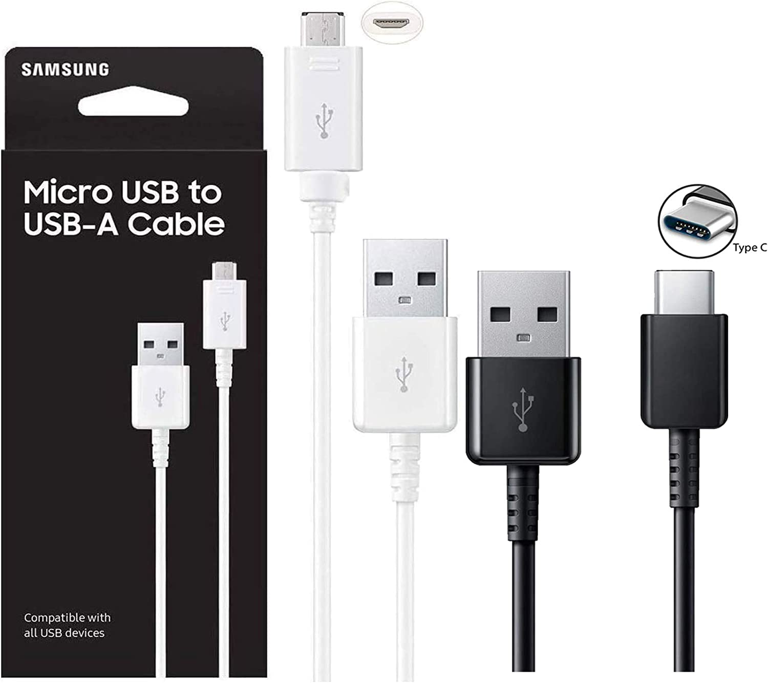 Official Samsung Adaptive Fast MicroUSB//USB-C Fast Charge Wall Charger For S8//S9//+//Note8//Note9 US Retail Packing Kit