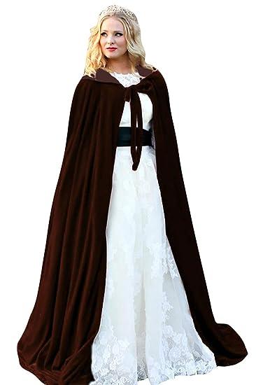 ShineGown Womens Hooded Bridal Cape Velvet Long Wedding Wraps Bride Coat Jacket Christmas Cloaks Halloween Mantel