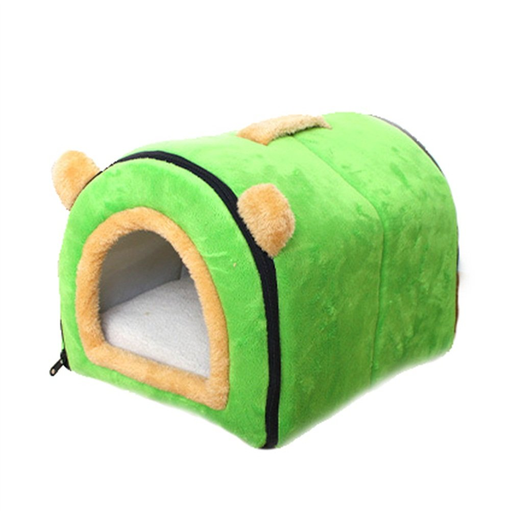 GREEN 553937cm GREEN 553937cm Ryan Cat Dog Nest Kennel House Cave Cozy Sleeping Bag Bed With Non-slip Pad Cushions Handle Soft Warm Green, orange, Brown (color   GREEN, Size   55  39  37cm)