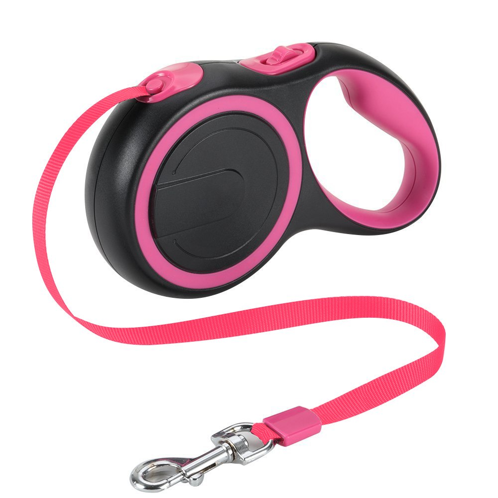 Slowton Retractable Dog Leash, 16ft Walking Jogging Training Leash with Polyester Tape for Small Medium Dog up to 44lbs With Hand Grip and One Button Brake & Lock
