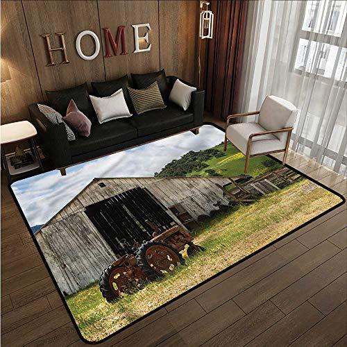 Hallway Rug Rustic Old Barn with Rusted Tractor Anti-Slip Doormat Footpad Machine Washable 5'10