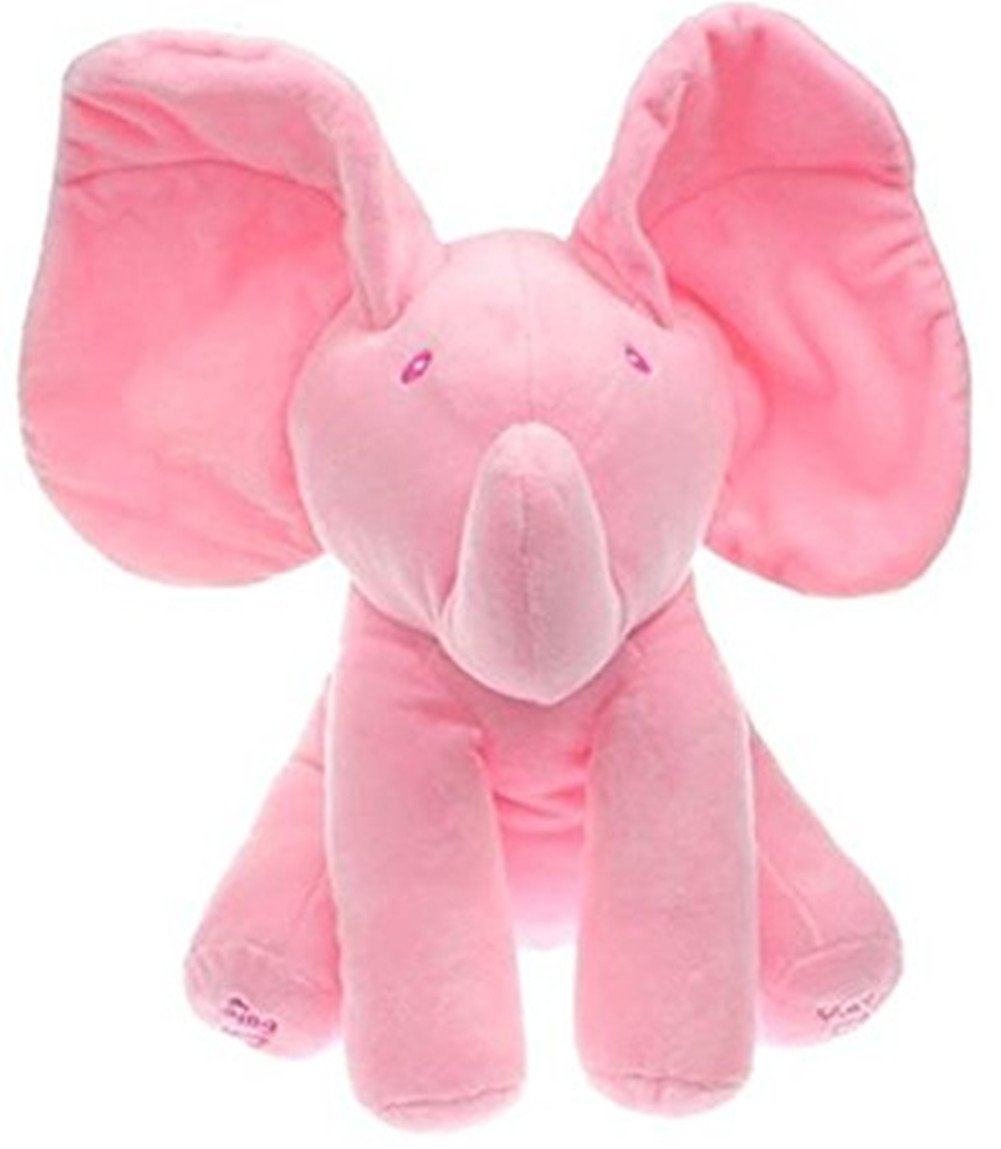 Morbuy Peluche per bambino appena nato di piccolo elefante adatto per neonati,Peek A Boo Pal Giocattoli Sonori Animati 7.8 x5.9 x11.8 Grigio
