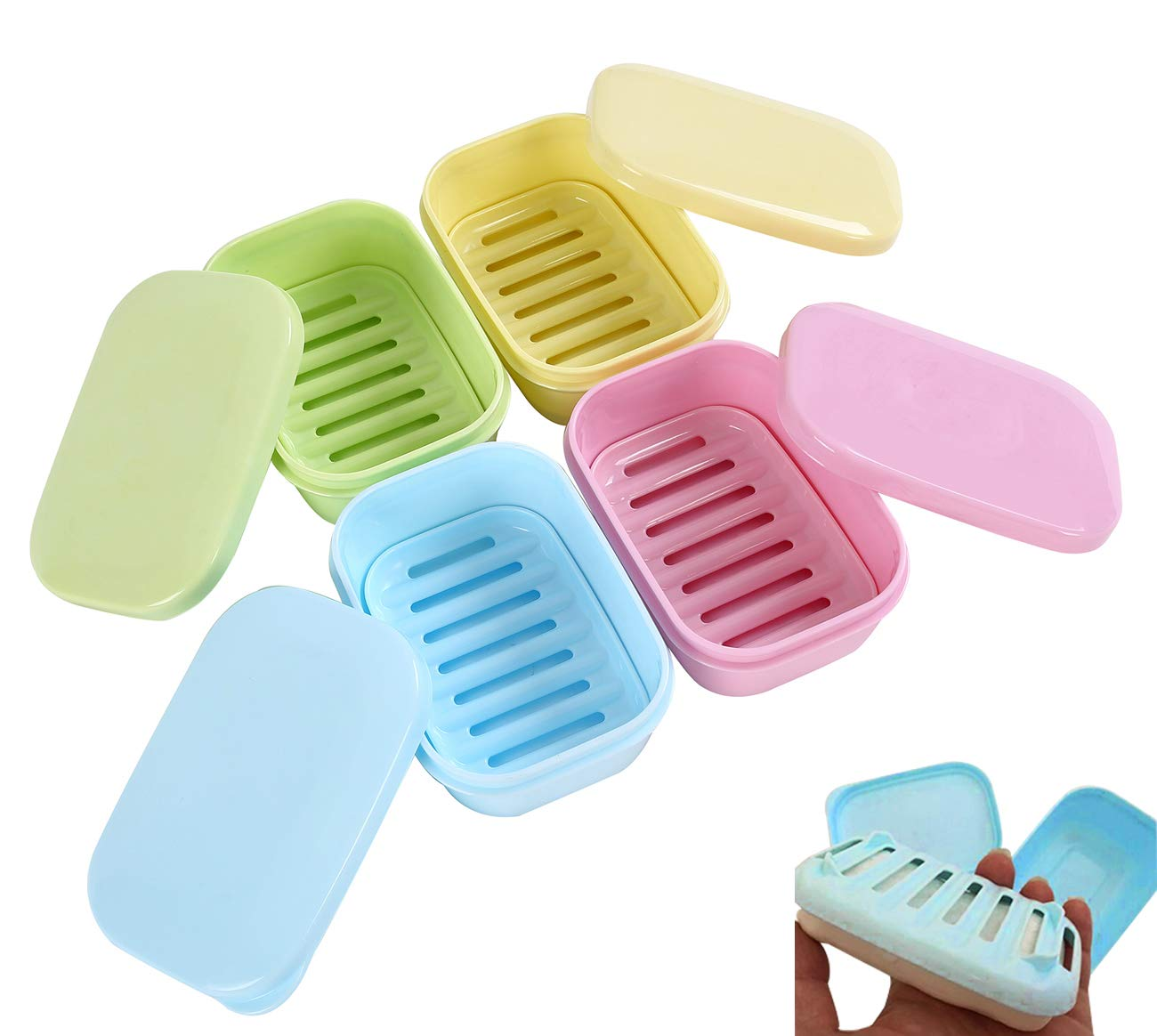 PUTING Removable Soap Drainers Plastic Soap Holder Portable Container Soap Saver Box Case for Bathroom Shower Home Outdoor Camping Set of 4