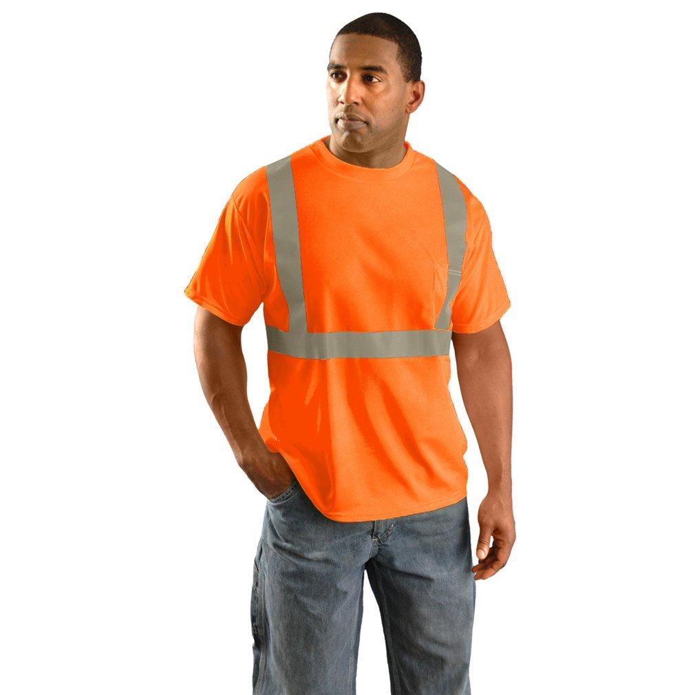 Classic Standard Wicking Birdseye Hi-Viz Reflective Safety Shirt - MED-ORANGE-