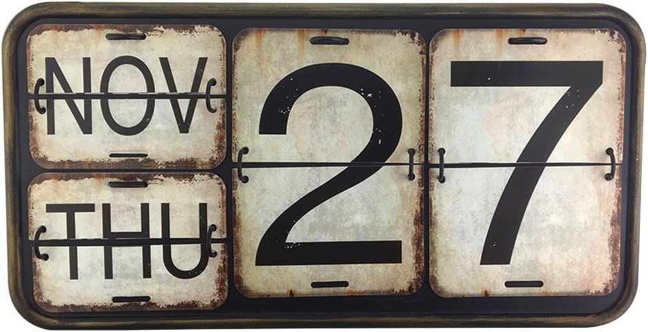 Archi Home Metal Wall Calendar Shabby Chic Perpetual Flip Calendar for Office Bar Decoration Square Shape Distressed Finish Wall Hanging-Reproduction Antique Railroad (012, Black)