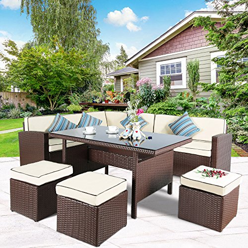 Cloud Mountain 7 PC Patio Wicker Rattan Dining Set Outdoor Garden Lawn Conversation Furniture Set Sofa Sectional Cushioned Seat Glass Top Table, Brown Rattan with Creamy White Cushions (Rattan Style Patio Furniture)