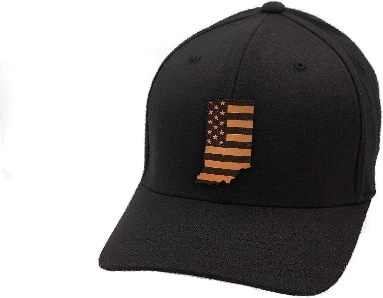 Branded Bills Indiana Patriot Leather Patch Hat Flex Fit