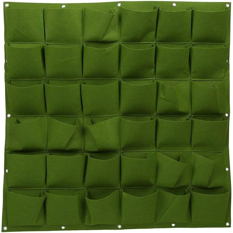 DIYARTS Wall Mounted Grow Bags 36 Pockets Felt Indoor Outdoor Plant Growing Holder Vertical Garden Planter for Vegetables Flowers (Green)