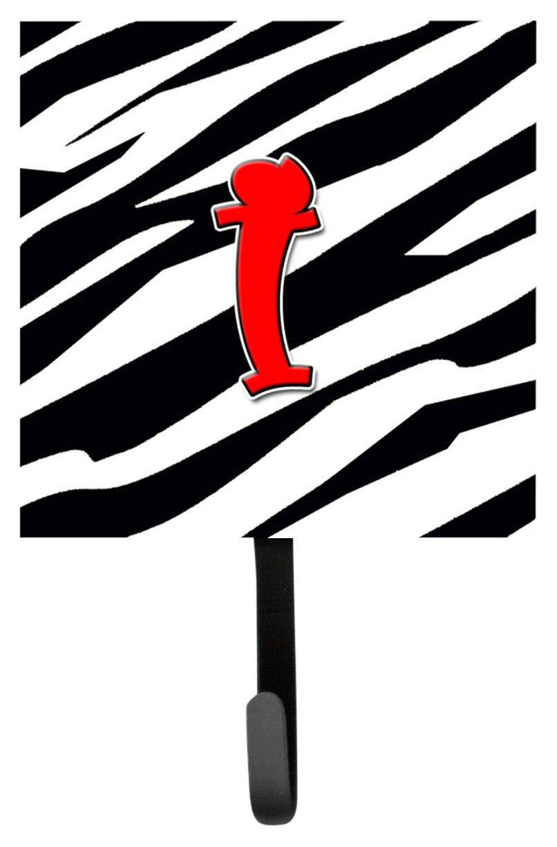 Carolines Treasures CJ1024-ISH4 Letter I Initial Monogram-Zebra Red Leash Holder or Key Hook Multicolor Small