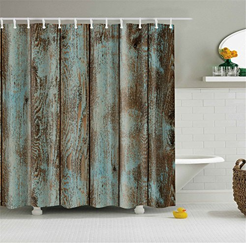 Retro Distressed Old Wood Rustic Boards Bathroom Shower