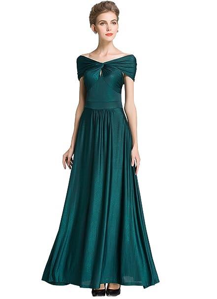 Medeshe Womens, elegante vestido largo de noche con hombro suelto y cuello V, fiesta