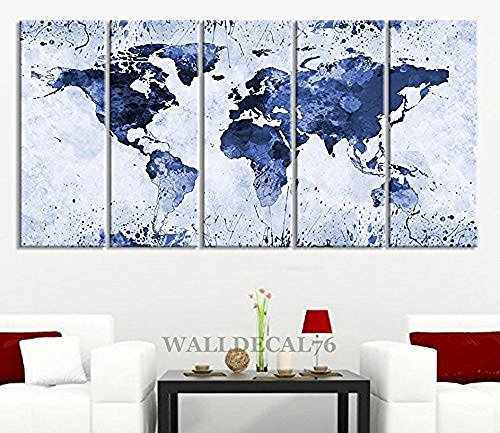 EZON-CH Extra Large Canvas Light Blue Ink Splashed World Map on White Background 5 Panel Large Wall Art 80 Inch Total