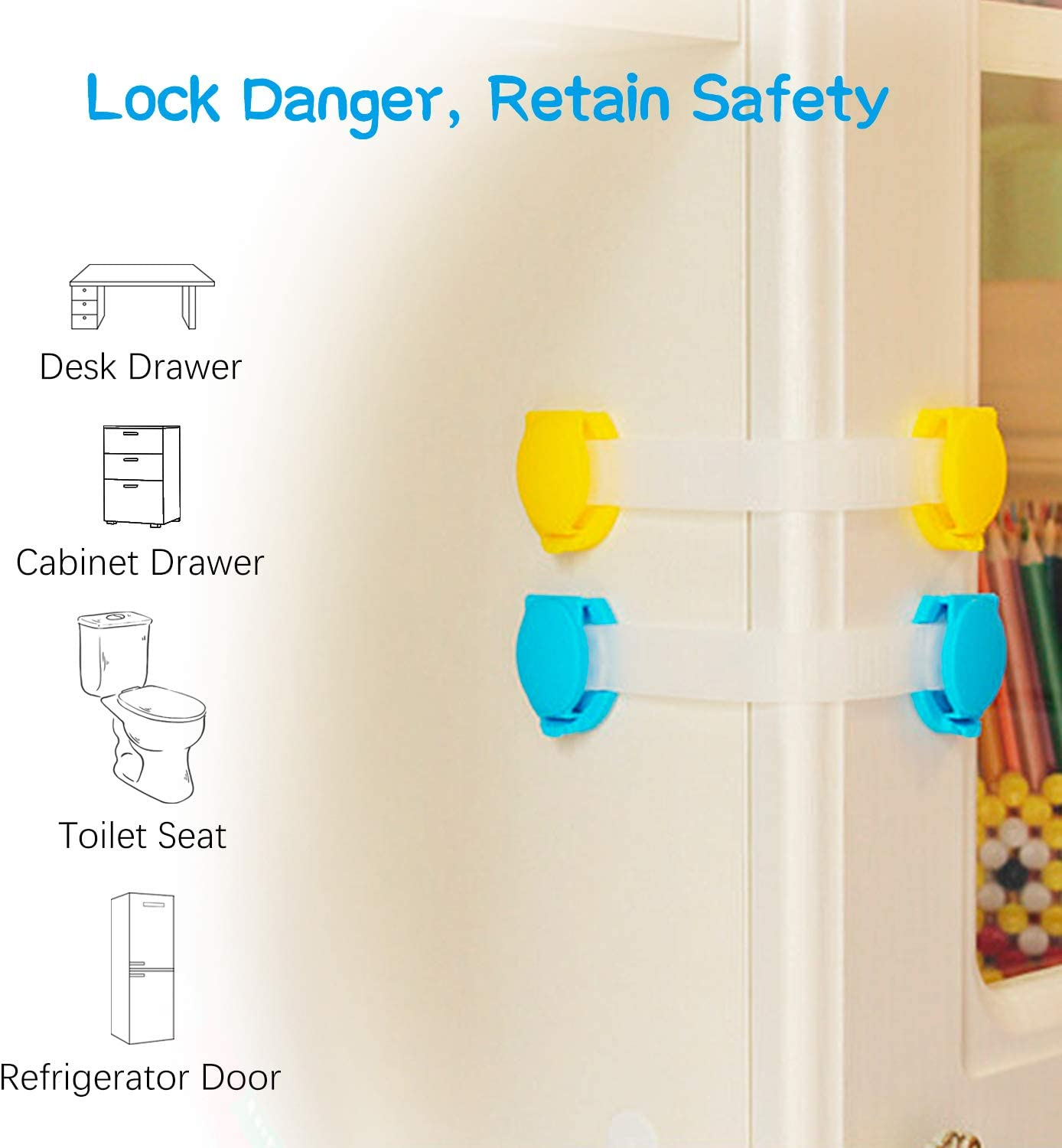 Child Safety Cupboard Locks,Inpher Baby Lock 10 Locks and 4 Corner Protectors Easy Install 3M Adhesive with Adjustable Strap Latches Cupboards for Proofing Kitchen Cabinets Drawers Fridge Closet Oven