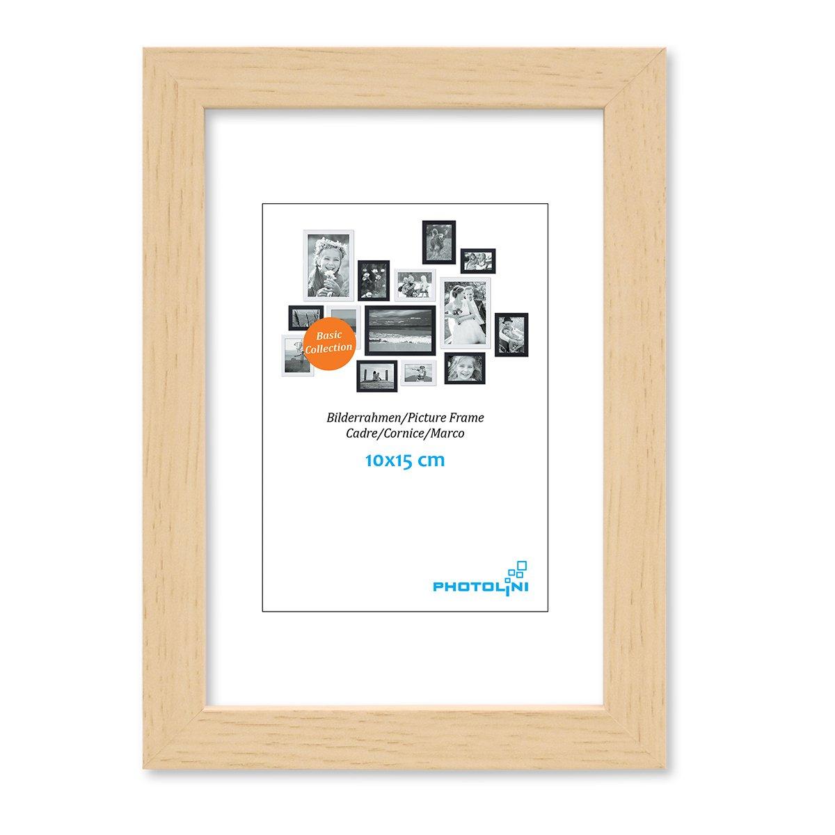 Photolini Juego de 3 Marcos 10x15 cm Modernos, Naturales de MDF con Vidrio acrílico, Incluyendo Accesorios/Collage de Fotos/galería de imágenes: Amazon.es: ...