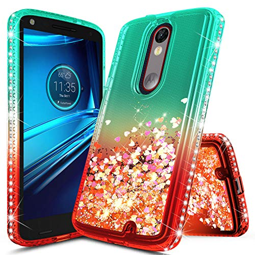 Droid Turbo 2 Case, NageBee Glitter Liquid Quicksand Waterfall Floating Flowing Sparkle Shiny Bling Diamond Girls Cute Case Designed for Motorola Droid Turbo 2 (Verizon XT1585) -Green/Candy