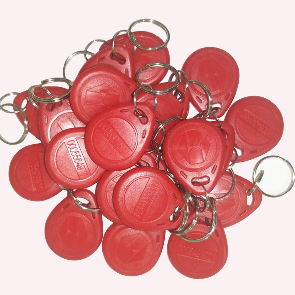 OBO HANDS 20pcs 125 KHz EM4100 Proximity ID RFID Smart Tags Access Control Smart Card Keyfobs Key Card (Red)