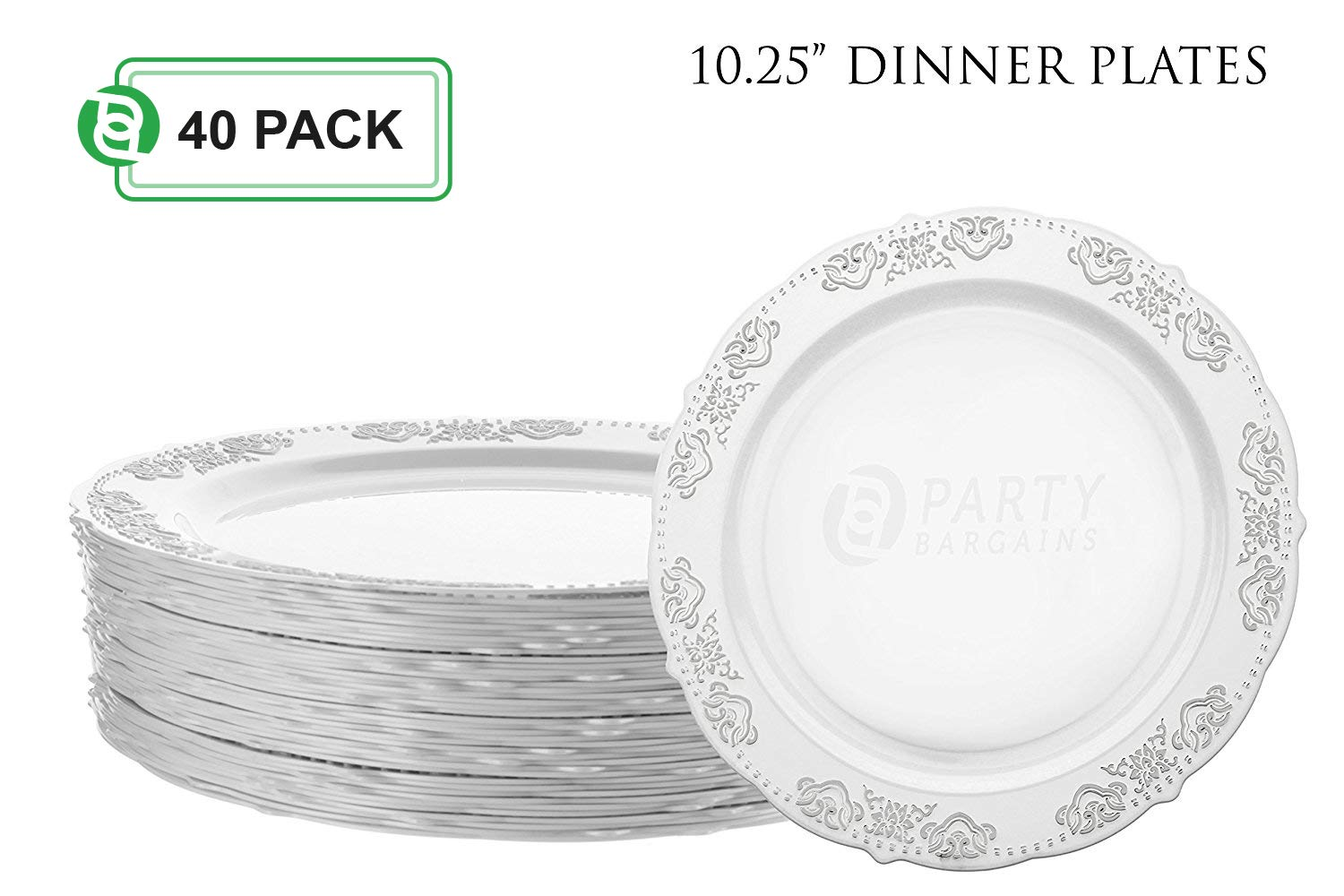 Party Bargains Disposable Plastic Plates | Heavyweight & Premium Quality China Like Dinnerware for Weddings, Bridal Showers, Engagement Parties & More | 10.25 Inches Silver Dinner Plates | 40 Count
