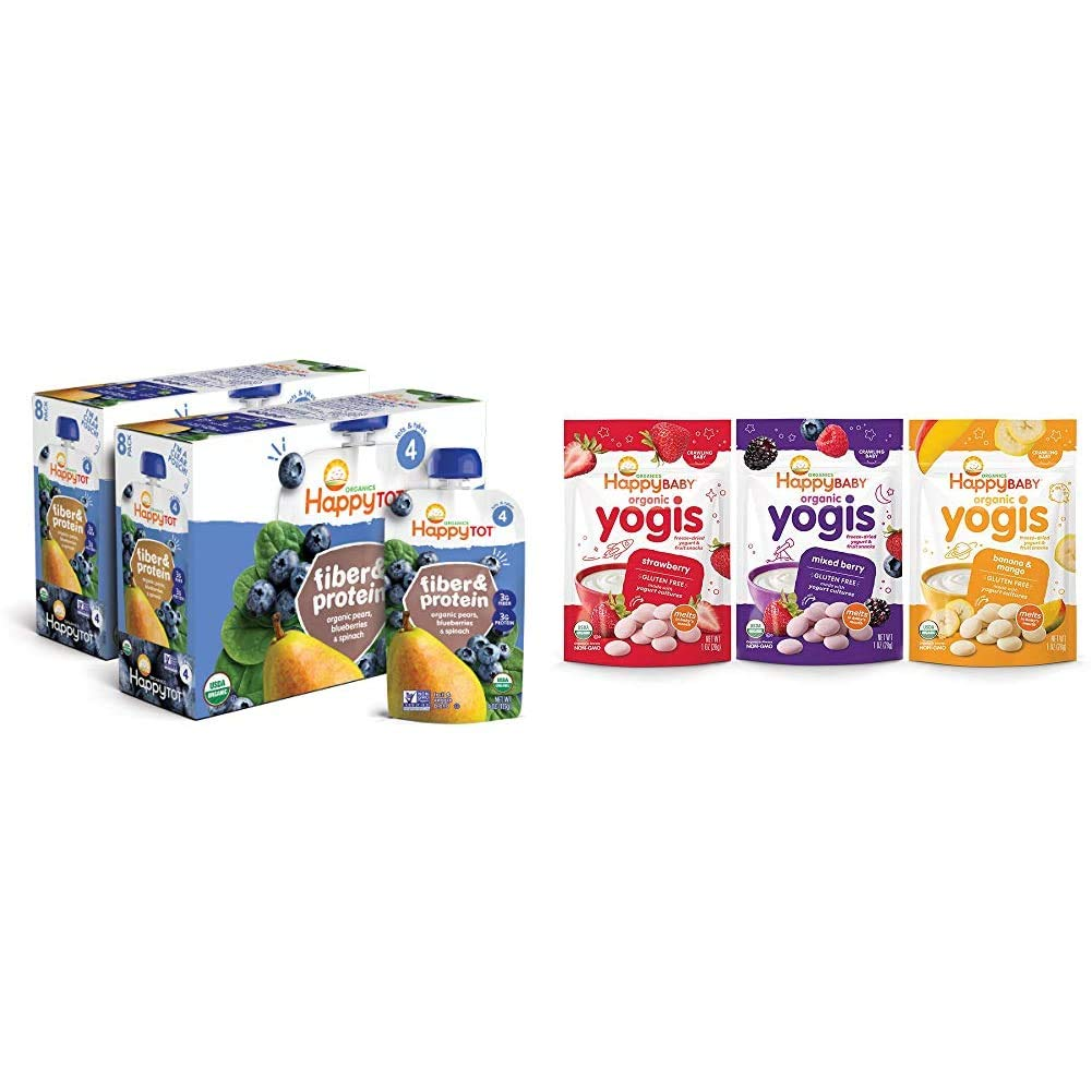 Happy Tot Organic Stage 4 Fiber & Protein, Pears, Blueberries & Spinach, 4 Ounce (Pack of 16) & Happy Baby Organic Yogis Freeze-Dried Yogurt & Fruit Snacks, 3 Flavor Variety Pack,1 Ounce