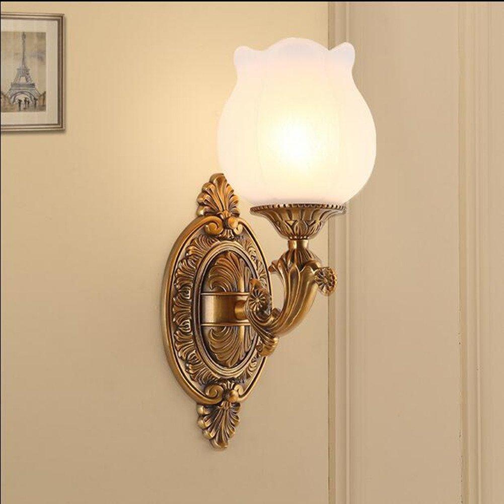 MIAO Kupferne Wandlampe Amerikanische Einfache Und Doppelte Scheinwerferhintergrundwand Antike Wandlampe