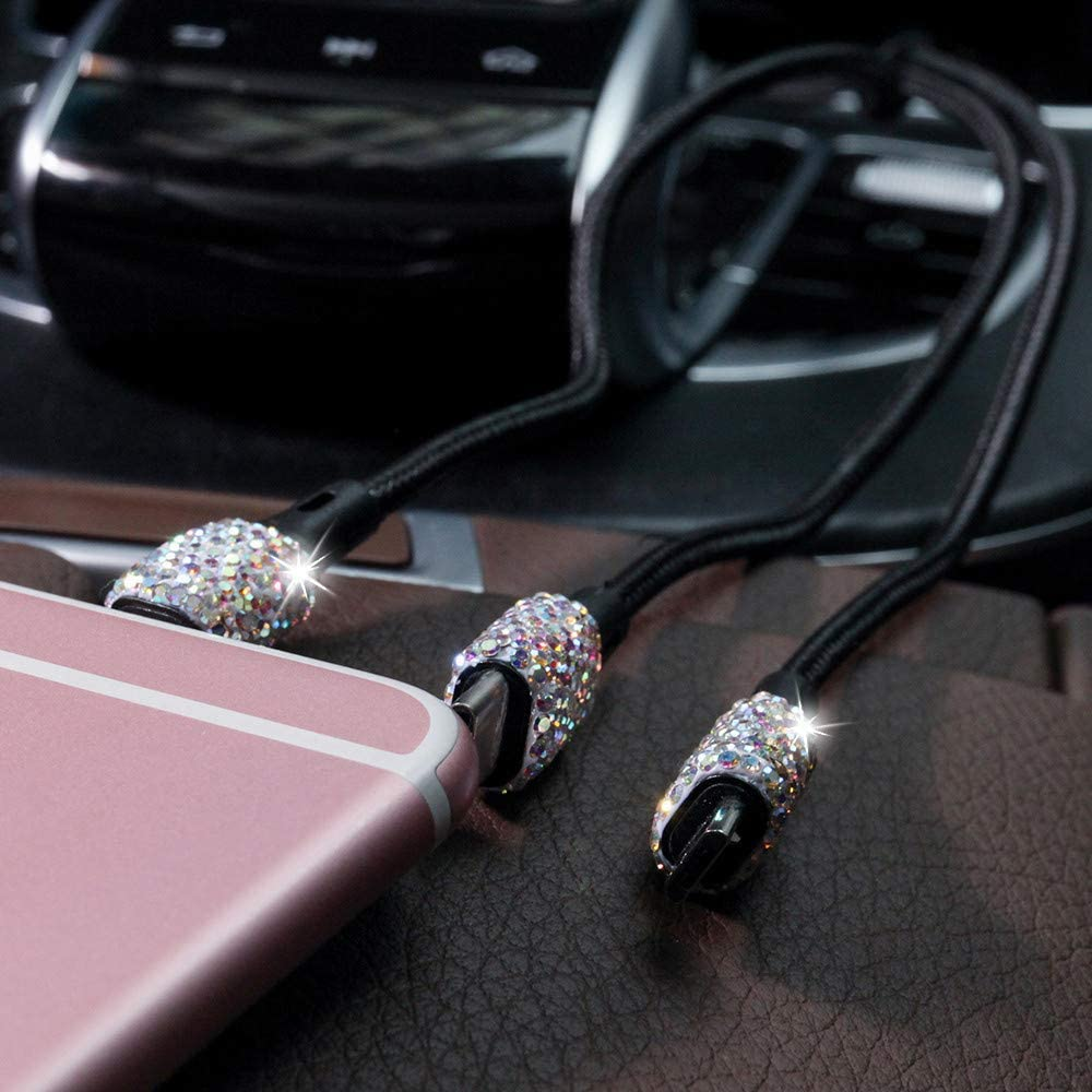 Bling Usb Car Charger 5v 2 1a Multi Coloured Crystal Decor Dual Port Fast Adapter With 3 9ft Nylon Type C Micro Usb 3 In 1 Multi Charging Cable For Iphone Ipad Android Car Interior Accessories