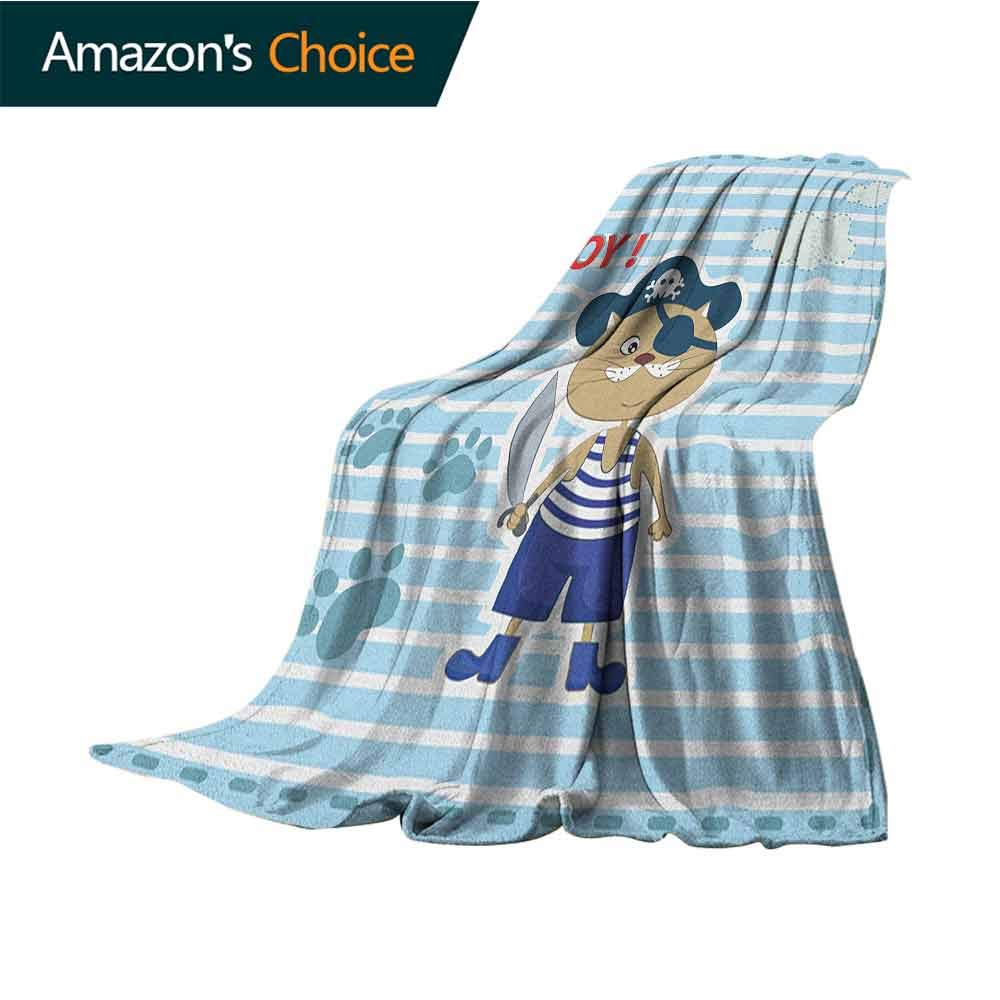 Ahoy Its a Boy Summer Blanket,Cute Cat Pirate Funny Paws Clouds Maritime Striped Framework Warm Blanket for Autumn Winter,60'' Wx70 L Turquoise Violet Blue Red