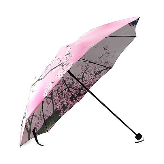 Amazon.com: Beautiful Cherry Blossom Tree, Sakura Flower Pattern Folding Rain Umbrella/Parasol/Sun Umbrella, 8 Ribs: Sports & Outdoors