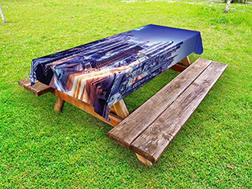 - Lunarable Scenery Outdoor Tablecloth, Metropolitan City Life with Buildings Living Town with Roads Landscape Picture, Decorative Washable Picnic Table Cloth, 58